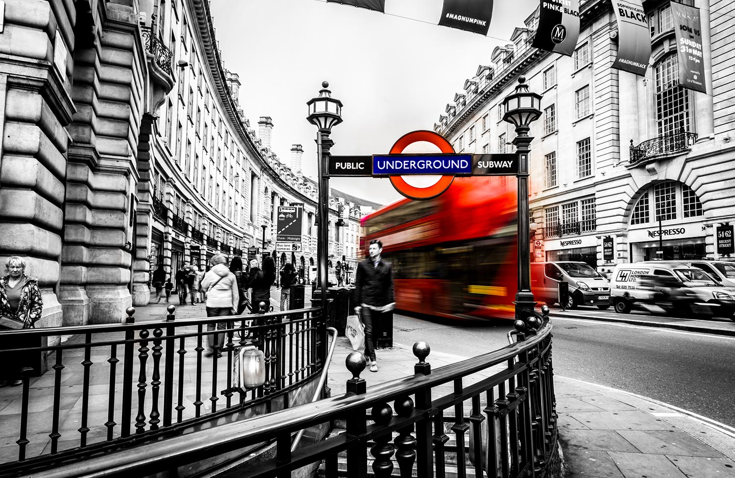 london black and white photo