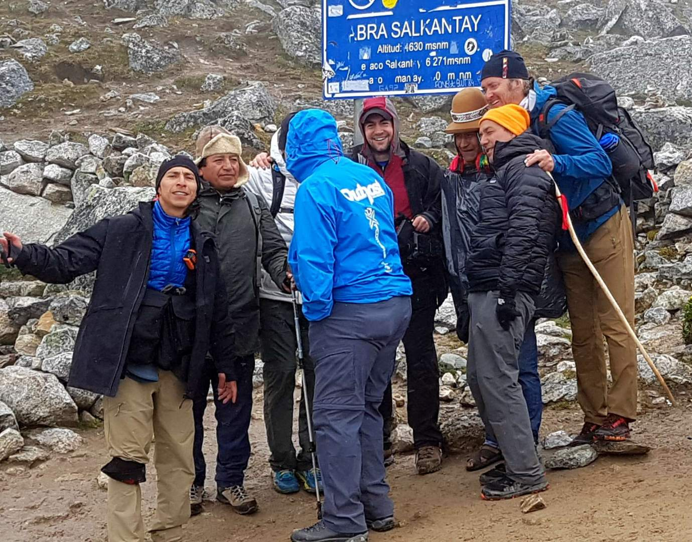 Team Outpost at the Salkantay Pass, the highest point of the trek