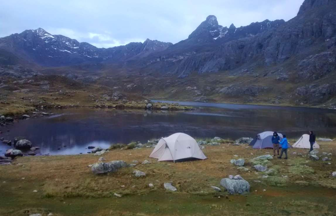Wild camping in the Andean highlands of Tanta, Peru.