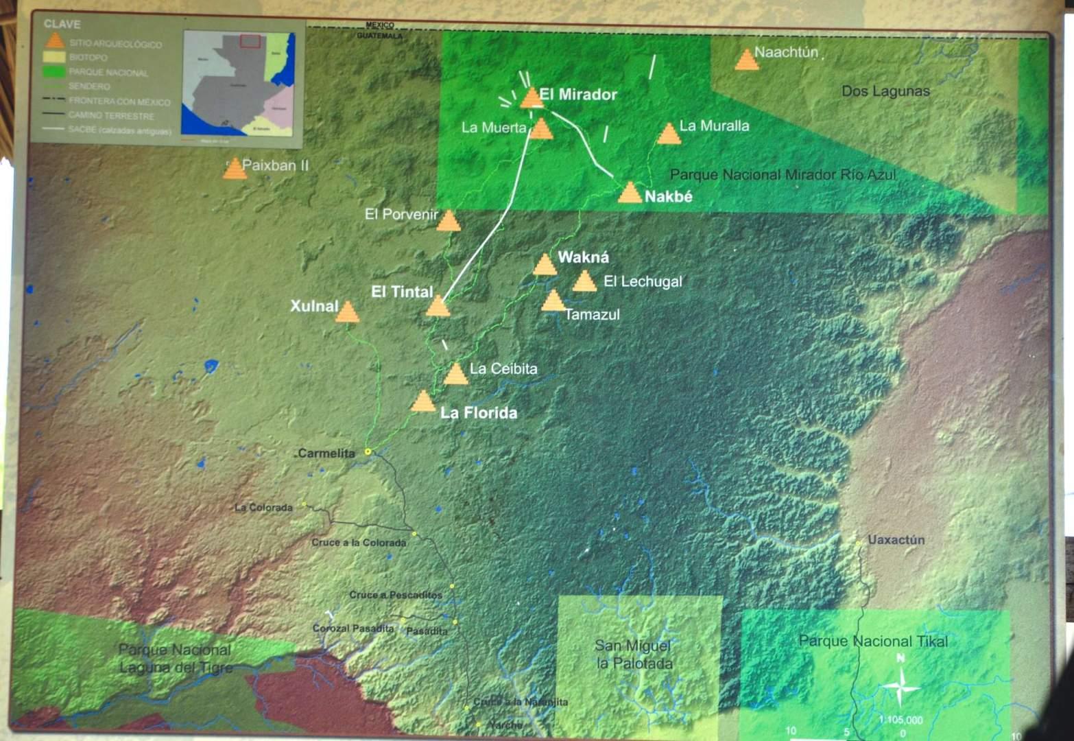 Map of El Mirador ruins Guatemala _S Bedford