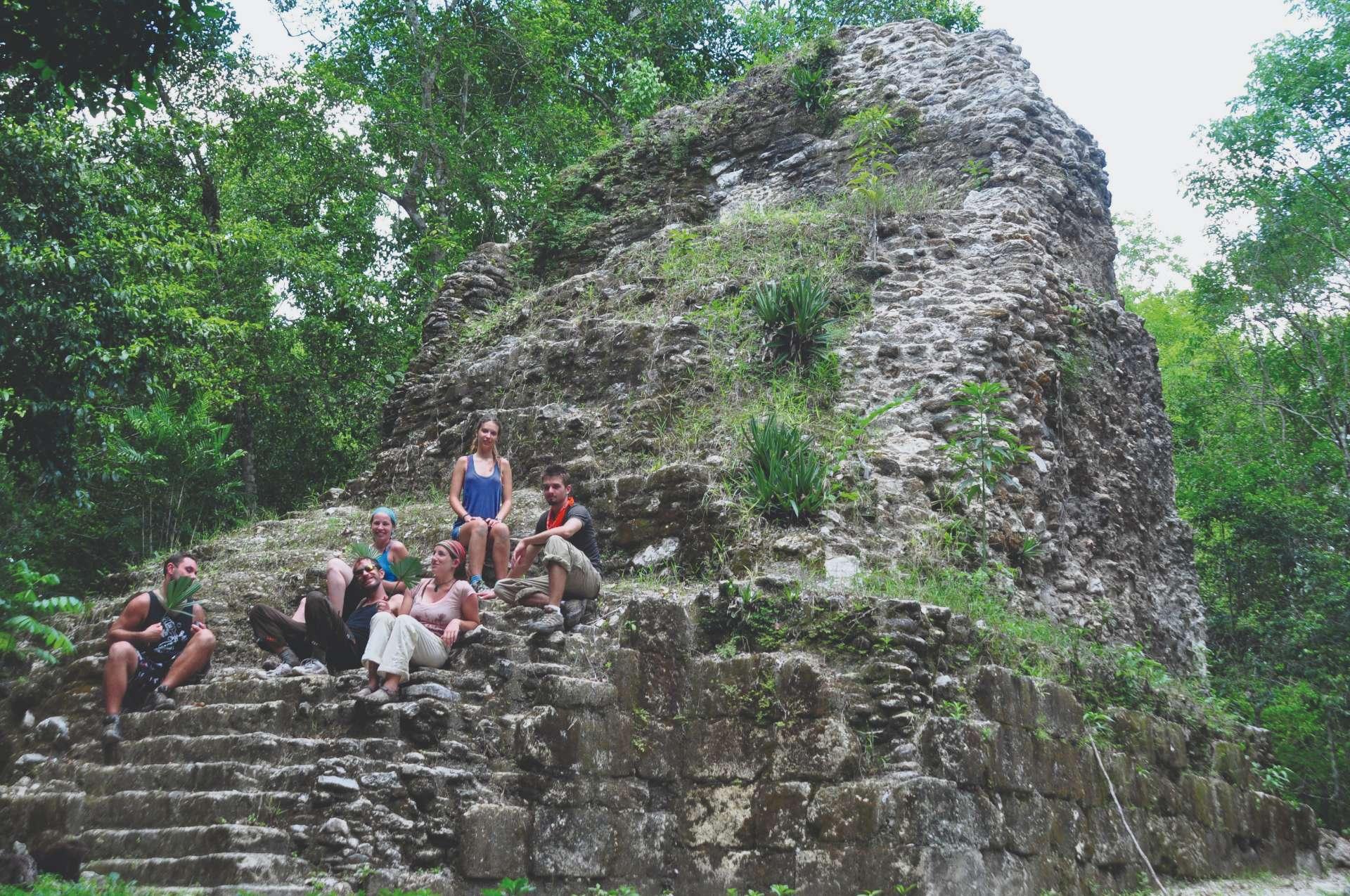 On stairs pyramid El Mirador Guatemala Sue Bedford